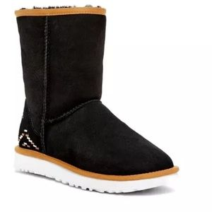 Ugg Black Suede Classic Rustic Weave Boots Sz 6